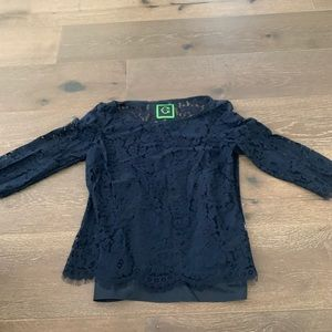 Navy Blue 3/4 Sleeve Lace Blouse